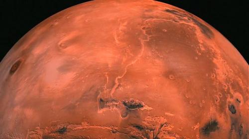 in primo piano la Hebes Chasma e più a sud la Marineris Valles