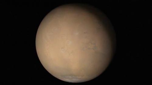 Marte con in atto una grande tempesta di sabbia