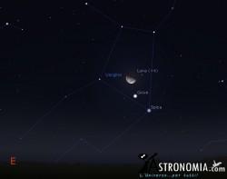 Congiunzione Luna - Giove, giorno 19 ore 1