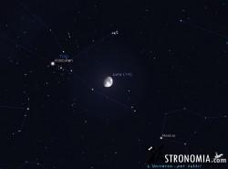 Congiunzione Luna - Pleiadi, giorno 8 ore 21