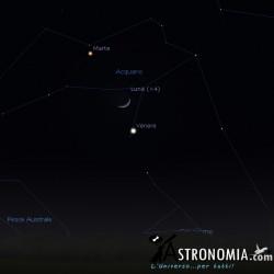 Congiunzione Luna - Venere - Marte, giorno 2 ore 18