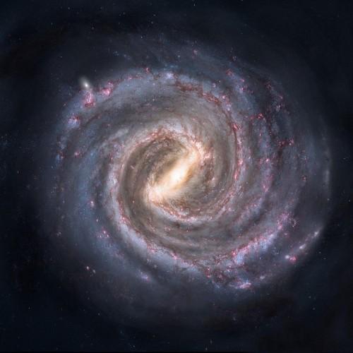 Ricostruzione artistica della Via Lattea vista dal polo nord galattico.