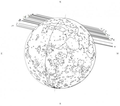 mappa lunare con i punti di ingresso e di uscita in base alla città