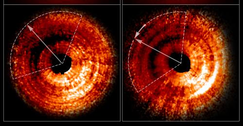 Le due immagini, riprese dallo spettrografo di Hubble, mostrano una luminosità non uniforme nel disco protoplanetario di TX Hydrae. Le linee tratteggiate approssimano le dimensioni dell'ombra, mentre le frecce mostrano quanto si è mossa in un anno, circa 20°. Crediti: NASA, ESA e J. Debes (STScI)