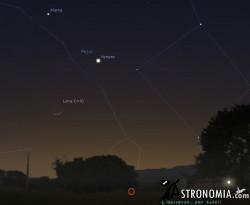 Congiunzione Luna - Giove, giorno 28 ore 18:30