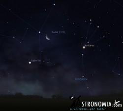 Congiunzione Luna - Saturno, giorno 20 ore 4:30