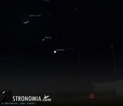 Congiunzione Luna - Venere - Marte, giorno 1 ore 19