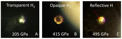 Fotografie della transizione dell'idrogeno compresso, all'aumentare della pressione, da trasparente a nero molecolare a atomico molecolare. Crediti: R. Dias e I.F. Silvera