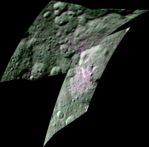 Immagine composita migliorata ottenuta dalle riprese dello spettrometro VIR nelle lunghezze d'onda di 1.7, 2 e 3.4 micrometri, che mostra la distribuzione di materiale organico (in rosa) nella zona del cratere Ernutet. Crediti: NASA/JPL-Caltech/UCLA/INAF/ASI