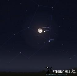 Congiunzione Luna - Giove, giorno 14 ore 22