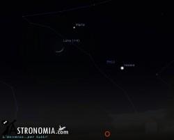 Congiunzione Luna - Marte, giorno 1 ore 19:30