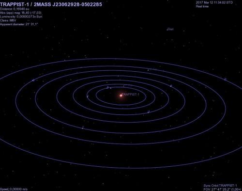 il sistema stellare riprodotto con Celestia
