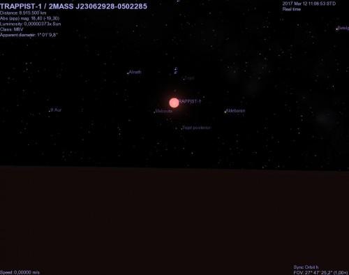 trappist-1 vista da h