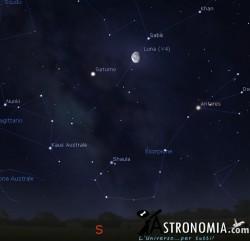 Congiunzione Luna - Saturno, giorno 16 ore 5