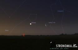 Congiunzione Luna - Venere, giorno 23 ore 5:30