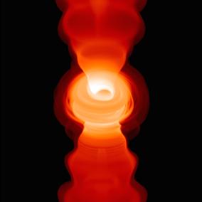 L'immagine illustra una simulazione numerica relativa a un getto relativistico che ha origine nel buco nero e che emette onde radio (banda di frequenza 50 GHz o lunghezza d'onda di 7mm). Si nota il disco di materia che accresce al centro del buco nero e i due getti simmetrici in direzione perpendicolare al disco. Crediti: T. Bronzwaar, M. Moscibrodzka, & H. Falcke