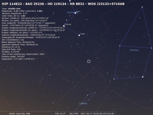la mappa stellare di Cassiopea e tutte le informazioni sulla stella