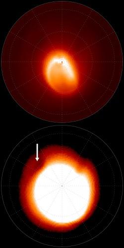 La mappa della ionosfera del polo nord di Giove, ottenuta con oltre 13 mila immagini in 6 anni di campagna del IRTF della NASA, iniziata quindici anni prima delle osservazioni del VLT, che mostrano come la macchia fosse già presente allora. In alto si vede chiaramente la struttura dell'aurora, in basso l'immagine saturata per rivelare la macchia scura e fredda. Credit: IRTF/NASA