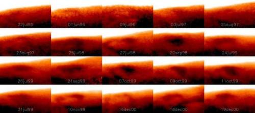L'immagine mostra il repentino cambiamento della Grande Macchia Fredda nel corso dei giorni. Ogni immagine è stata ripresa in un giorno diverso, in alcune non solo cambia in forma e dimensioni, ma quasi sparisce del tutto. A dispetto però della grande variabilità, la macchia torna a riapparire sempre nello stesso posto, almeno da quanto emerge nei dati a disposizione, raccolti nell'arco di quindici anni. Credit: IRTF/NASA.