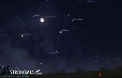 Congiunzione Luna - Saturno, giorno 13 ore 01:00