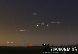 Congiunzione Luna - Venere, giorno 22 ore 5