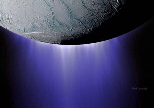 Rappresentazione artistica dei pennacchi di Encelado. Crediti: Nasa