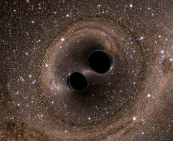 Rappresentazione artistica dei due buchi neri all'origine delle onde gravitazionali rivelate da Ligo. Crediti: SXS Lensing