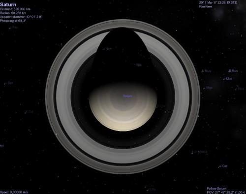 Saturno visualizzato con Celestia