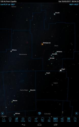 Orione visto dalle parti di Capella