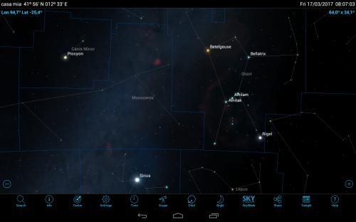 Orione, il Cane Maggiore e la Via Lattea