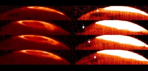 La Great Cold Spot, indicata dalla freccina nelle immagini, è stato scoperta grazie alle riprese nella zona interessata dalle aurore gioviane, dello strumento CRIRES, in dotazione al Very Large Telescope dell'ESO. Le immagini a sinistra mostrano i luminosi archi dell'aurora in infrarosso, riprese in due notti separate (la prima in alto a sinistra il 17 ottobre e tre immagini del 31 dicembre 2012). Per poter evidenziare la Grande Macchia Fredda è stato necessario saturare le immagini, come si vede sulla destra. In questo modo il pianeta brilla per il calore dell'alta atmosfera, e la macchia più fredda viene messa in evidenza. Credit: VLT / ESO