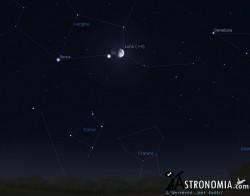 Congiunzione Luna - Giove, giorno 3 ore 23