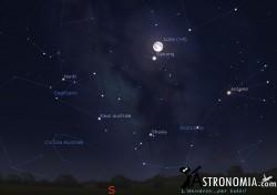 Congiunzione Luna - Saturno, giorno 10 ore 2