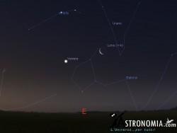 Congiunzione Luna - Venere, giorno 20 ore 5