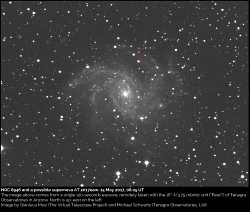 NGC 6946 e la supernova SN 2017eaw. 14 maggio 2017