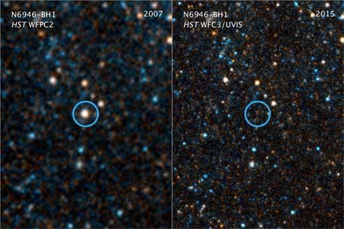 Le immagini scattate da Hubble nel 2007 (a sx) e nel 2015 (a dx). Il circoletto azzurro evidenza la posizione in cui si trovava la stella scomparsa. Crediti: Nasa, Esa, and C. Kochanek (Osu)