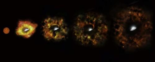 Rappresentazione artistica dell'evoluzione che potrebbe aver subito N6946-BH1. Crediti: Nasa, Esa, e P. Jeffries (STScI)
