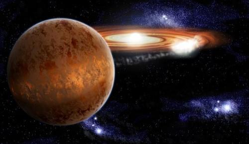 Rappresentazione della fase di variabile cataclismica di un sistema binario composto da una stella nana bianca e una nana bruna. Crediti: Stuart Littlefair / Science.