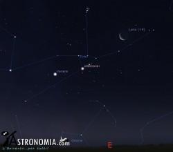 Congiunzione Luna - Pleiadi, giorno 19 ore 05:00