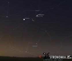 Congiunzione Luna - Venere, giorno 20 ore 05:30
