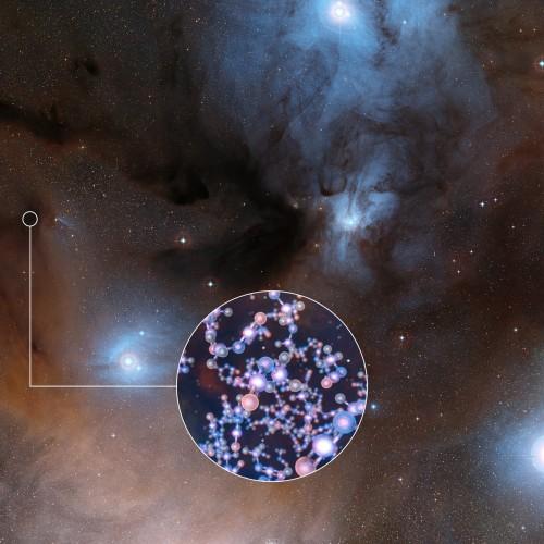 L'immagine mostra la spettacolare regione di formazione stellare in cui è stato trovato l'isocianato di metile, la cui struttura molecolare è mostrata nell'inserto. Crediti: ESO/Digitized Sky Survey 2/L. Calçada
