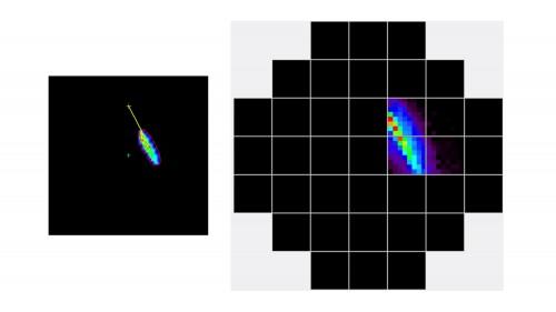 Uno degli eventi prodotti da sorgenti celesti e registrati in luce Cherenkov dalla camera di rivelazione del telescopio Astri