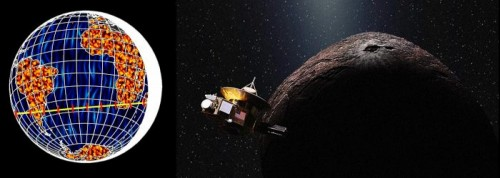 A sinistra, una simulazione con la regione interessata dall'occultazione del 3 Giugno (linea gialla). A destra, una rappresentazione artistica dell'incontro tra NH e 2014 MU69
