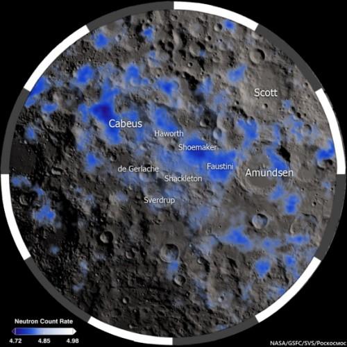 In blu le aree fredde in prossimità del polo sud della Luna.