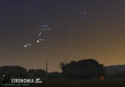Congiunzione Luna -  Giove, giorno 25 ore 20:30