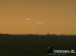 Congiunzione Luna -  Marte, giorno 21 ore 6