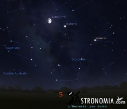 Congiunzione Luna -  Saturno, giorno 3 ore 22