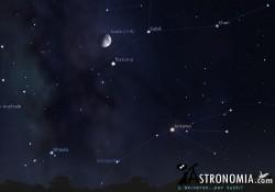 Congiunzione Luna - Saturno, giorno 30 ore 22
