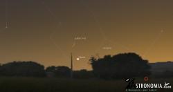 Congiunzione Luna - Giove, giorno 22 ore 19