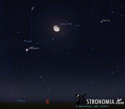 Congiunzione Luna - Pleiadi, giorno 8 ore 23
